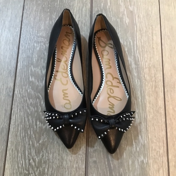 3358fb477e024d Sam Edelman Raisa black pointy bow stud flats 6.5.  M 5ac6f43ff9e501f59567be9c